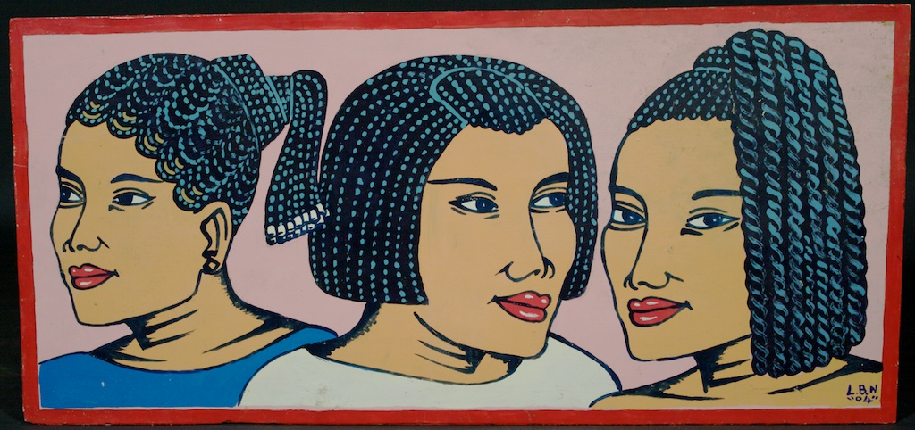 Another great beauty salon sign with 3 women's heads by the Togolese artist Lebene, pink background