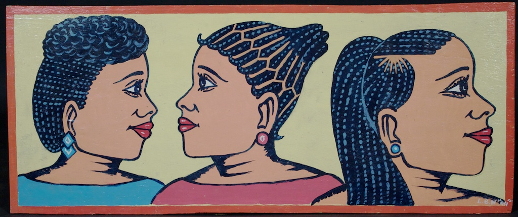 Another great beauty salon sign with 3 women's heads by the Togolese artist Lebene, pale yellow background