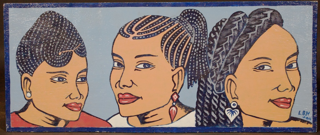 Another great beauty salon sign with 3 women's heads by the Togolese artist Lebene