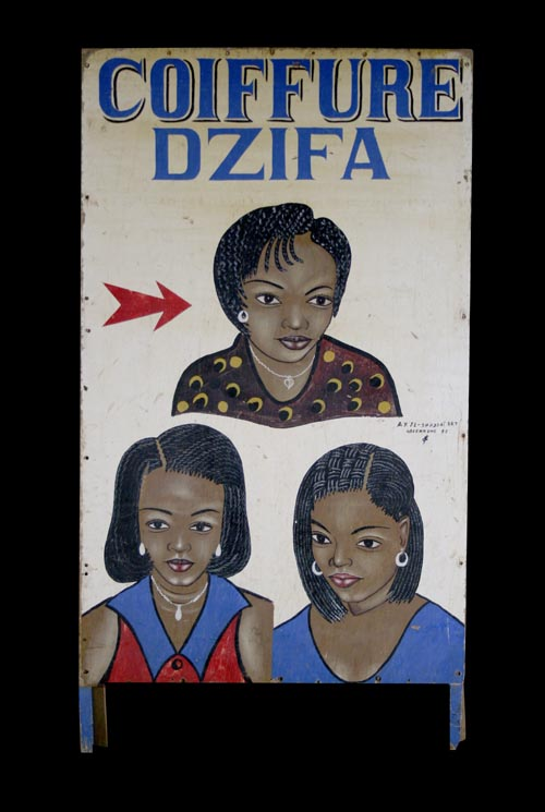 Vintage short commercial art sign advertising the Dzifa Coiffure salon, 3 women heads, different hairstyles, side B