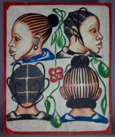 Painted by Joel in Adjame, Abidjan, 4 women's heads on a white background