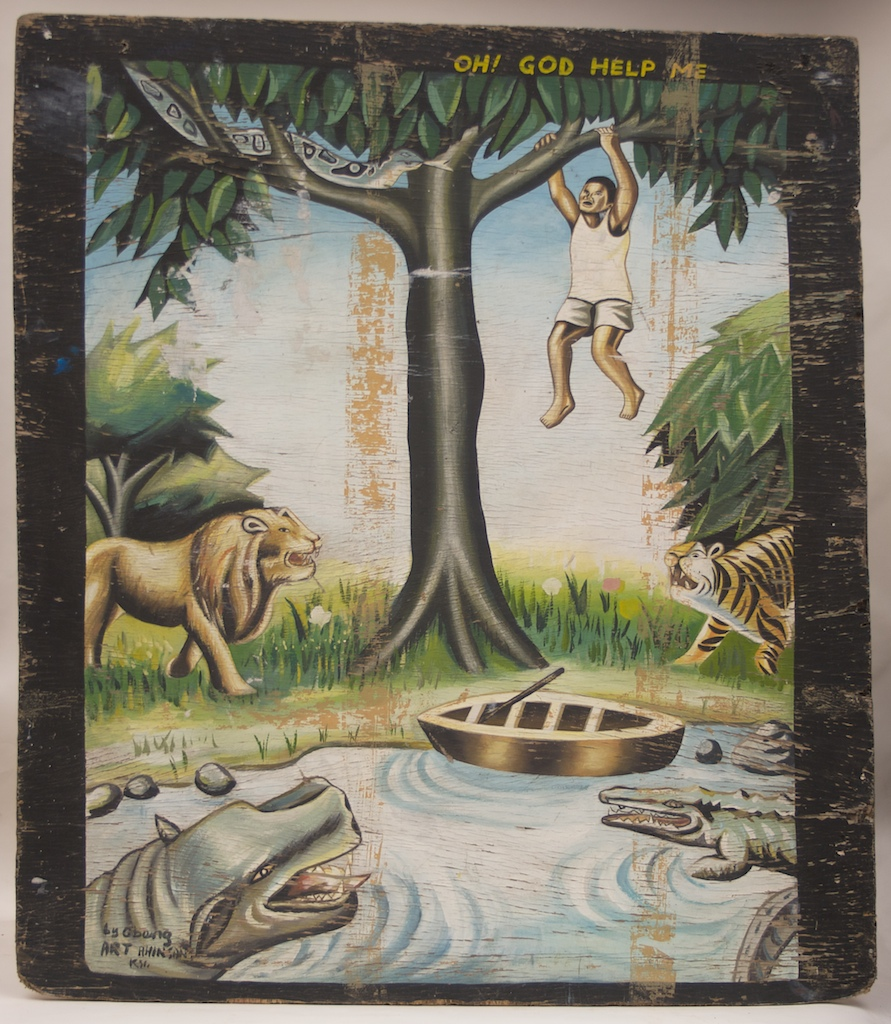 Very large painting on wood by a commercial artist to demonstrate his skill and manifest his Christian beliefs, showing a man in danger by several animals.