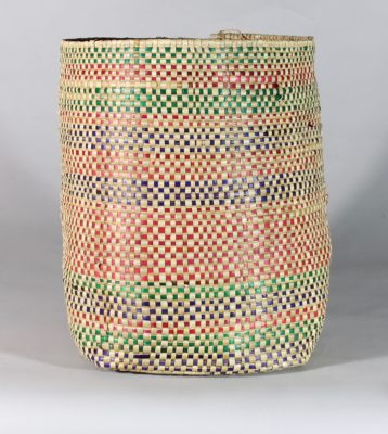 Small handwoven flexible sac style swamp grass colorful basket, view A