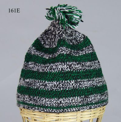 Woven cotton kufi hat in black, white & green. Hat 161E