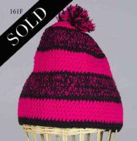 Woven cotton kufi hat in black & fuchsia. Hat 161F