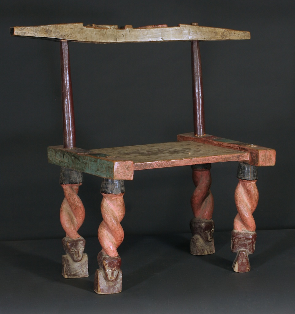 181 Extraordinary carved & painted Baule chair