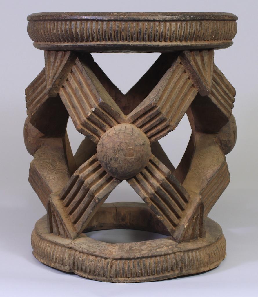 184 Large Bamileke Spider Web Stool