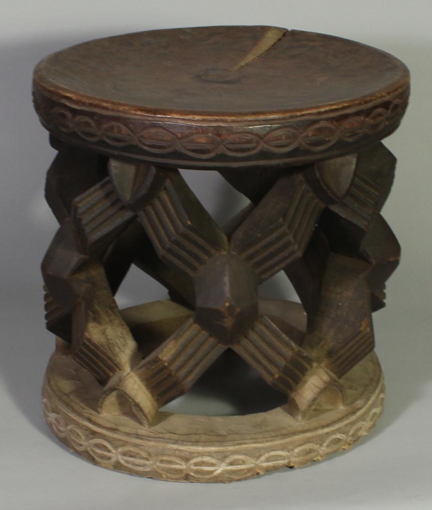 245 Large Bamileke Spider Web stool