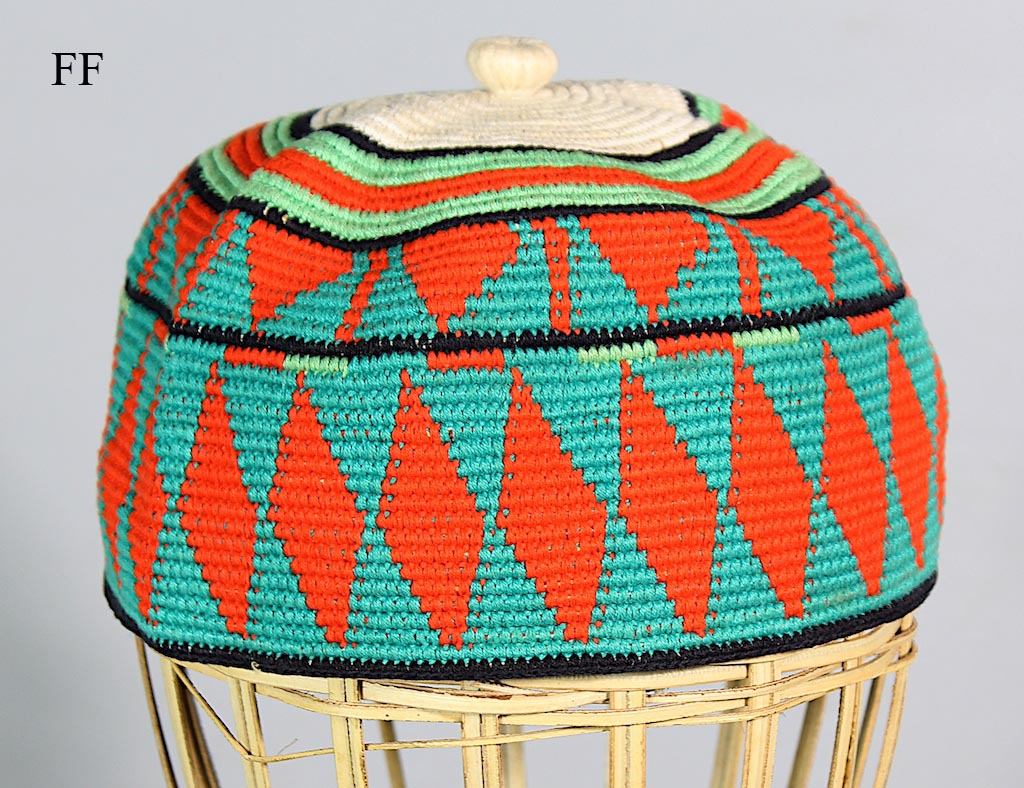 Multi-colored woven cotton men's kufi skull cap hat XL size # KufiFF