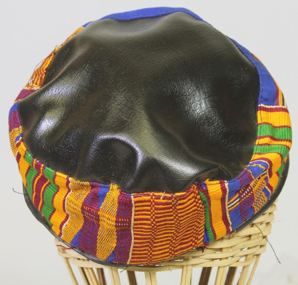 Authentic Kente Cloth Amp Faux Black Leather Kufi Ghana Hat