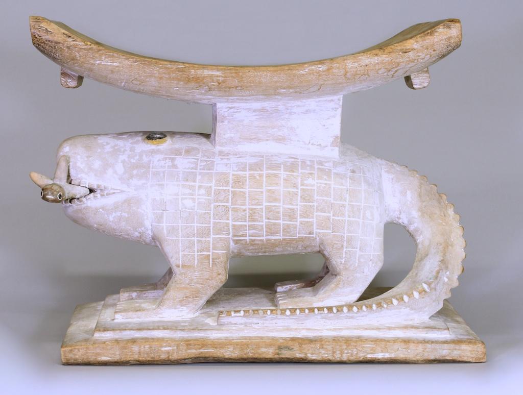 369 XL old Asante crocodile stool