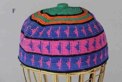 Medium size kufi skull hat wide blue & pink bands green top orange stripes