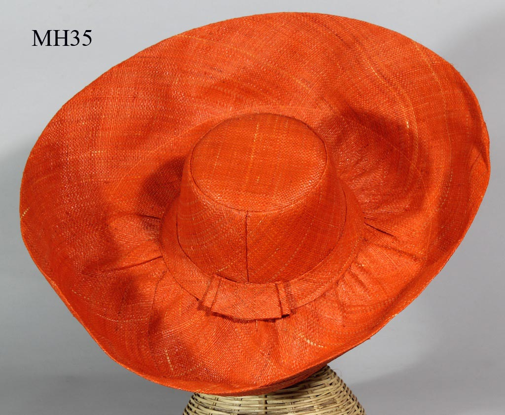 432c8d71f2493 Lightweight Raffia Ladies  Wide Brim Solid Color Sun Hat with bows from  Madagascar