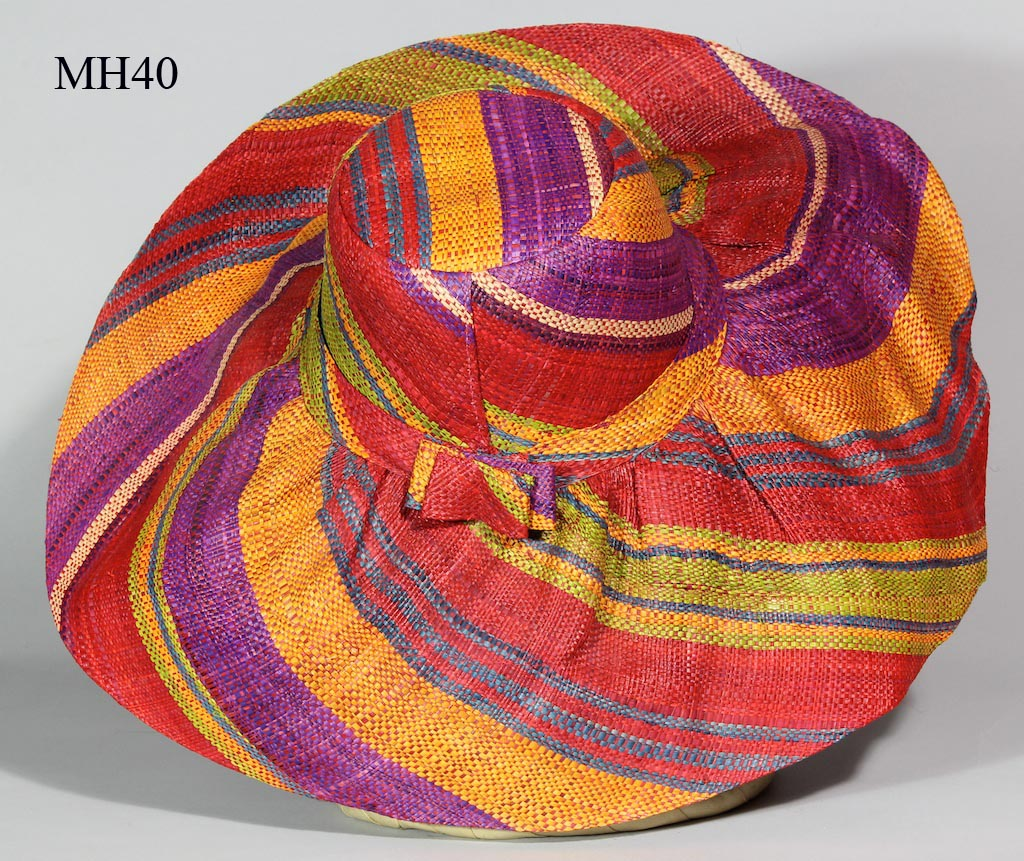 3480bdc53dea6 Lightweight Raffia Ladies  Wide Brim Multicolor Sun Hat with bows ...