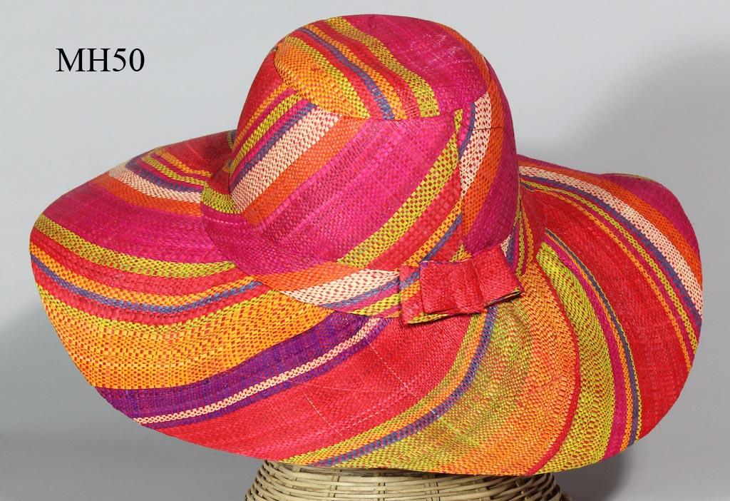 ac9874ec8ab13 Lightweight Raffia Ladies  Flat Brim Multicolor Sun Hat with bows ...