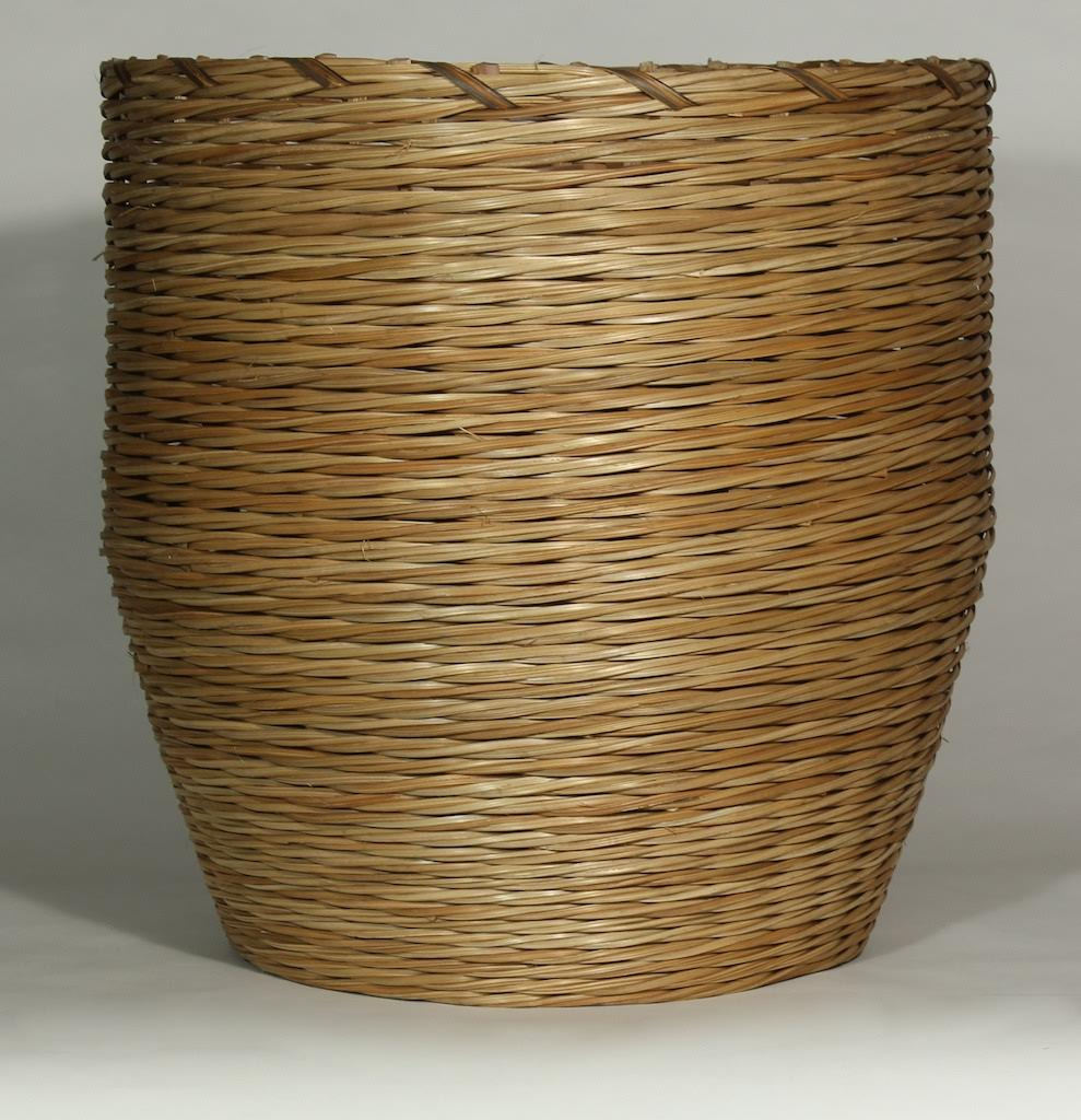 African Baskets: Large Sturdy African Ivory Coast Palm Stem Basket