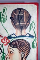 Painted by Joel in Adjame, Abidjan, 4 women's heads on a white background, upper right portrait