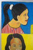 4 women's heads on one side of a sandwich style sign advertising a beauty salon, head on upper left