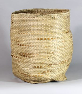 Small handwoven flexible sac style swamp grass basket, view A