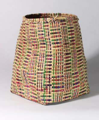 Small handwoven flexible sac style swamp grass plaid design colorful basket, view B