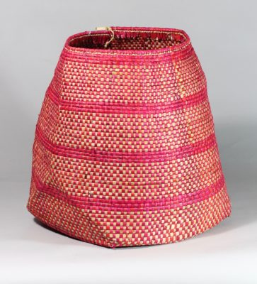 Medium handwoven flexible sac style swamp grass basket, solid red color, view A